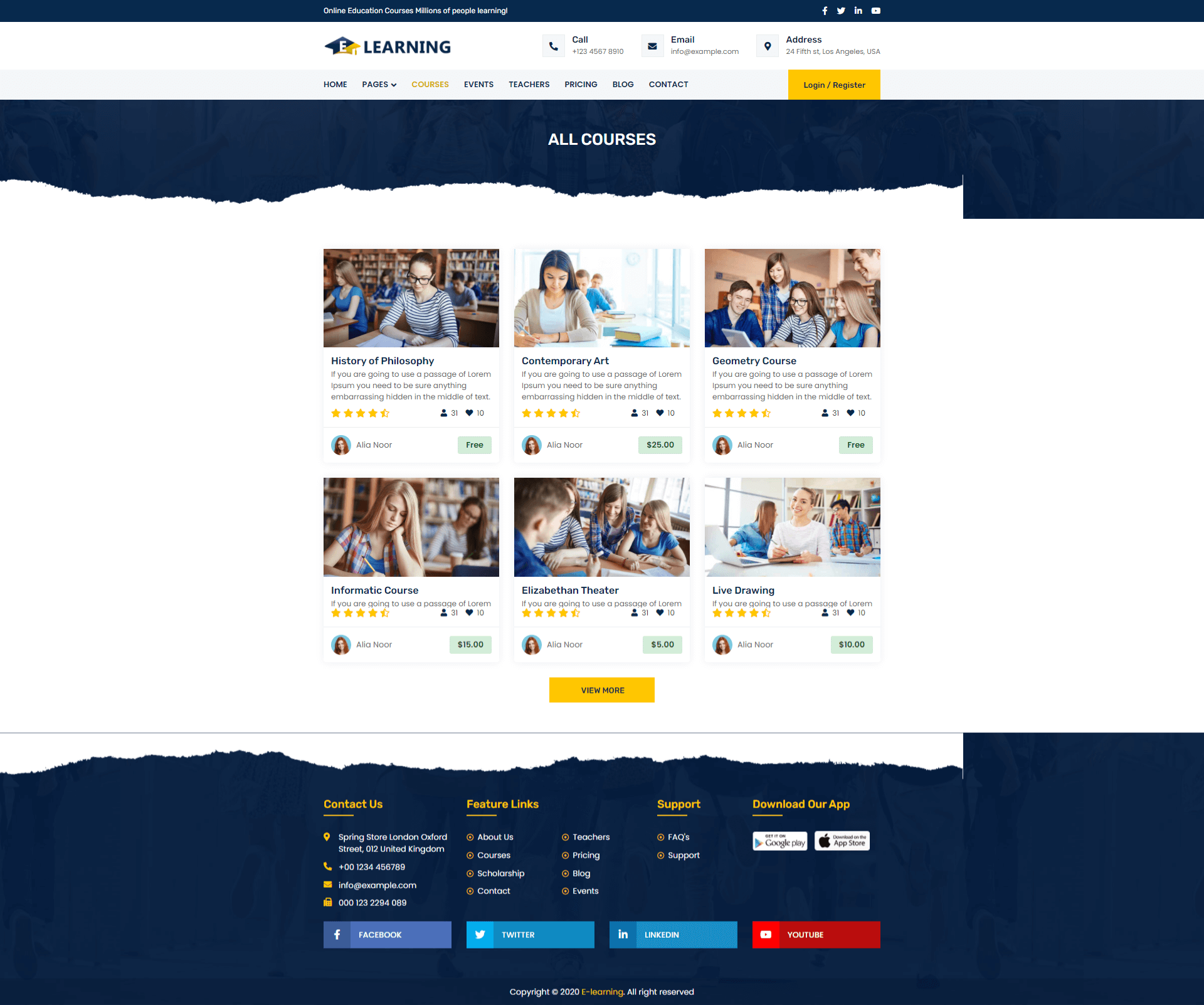 E-learning Template Screenshot Images One