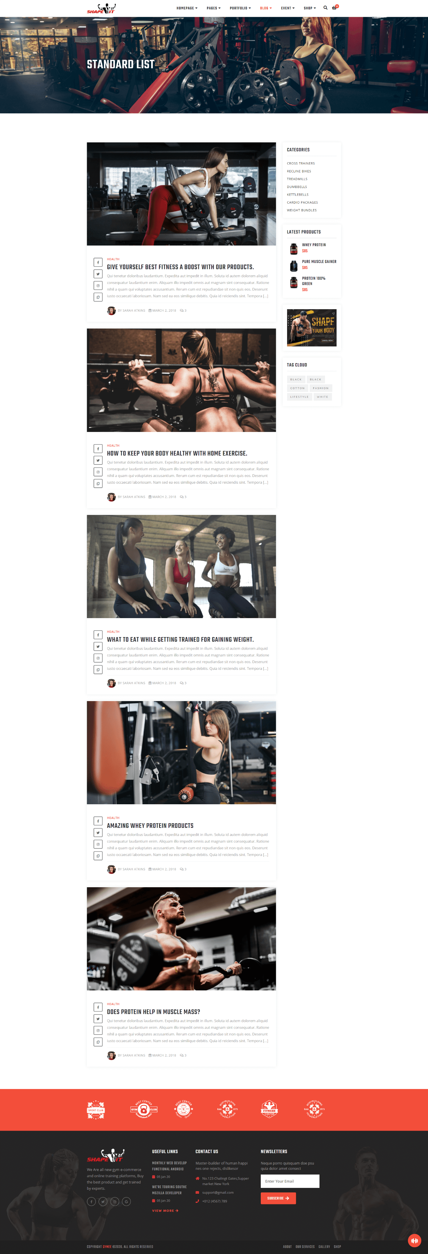 Gym Template Screenshot Images Five